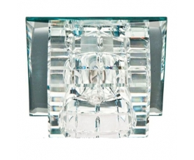 Светильник встраиваемый с дополнительной светодиодной RGB подсветкой 2.5W   JCD9 35 W 230V/50Hz G9, прозрачный, прозрачный, JD106 FERON