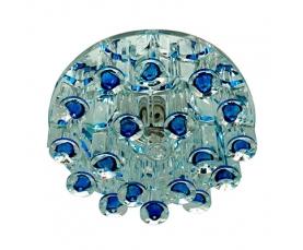 Светильник встраиваемый с дополнительной светодиодной RGB подсветкой 2.5W   JCD9 35 W 230V/50Hz G9, голубой, прозрачный, 1550 FERON