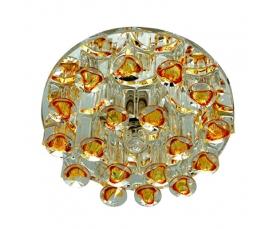 Светильник встраиваемый с дополнительной светодиодной RGB подсветкой 2.5W   JCD9 35 W 230V/50Hz G9, желтый, прозрачный, 1550 FERON