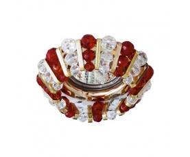 Светильник потолочный, MR16 G5.3 с прозрачным и  красным стеклом, золото, с лампой, CD2121 FERON