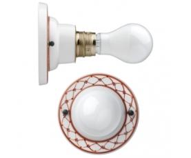 Подвесной светильник Е27 D 40см 84131 бело/коричневый декор Fanton