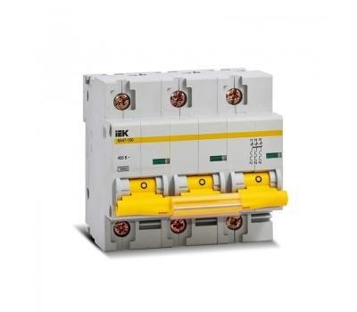 Автоматический выключатель BA47-100 80A 3п. (характ. С) IEK