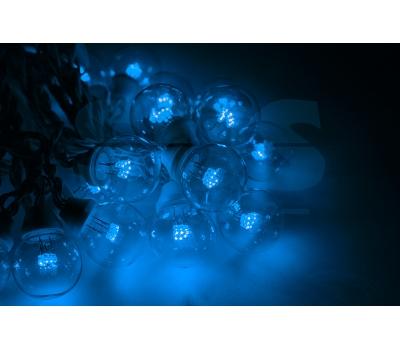 Гирлянда LED Galaxy Bulb String 10м, черный КАУЧУК, 30 ламп*6 LED СИНИЕ, влагостойкая IP65