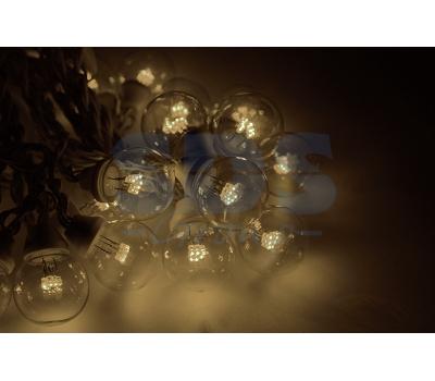 Гирлянда LED Galaxy Bulb String 10м, черный КАУЧУК, 30 ламп*6 LED ТЕПЛО-БЕЛЫЕ, влагостойкая IP65