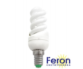 Лампа энергосберегающая ELT19 13W 230V E14 6400K спираль T2 FERON