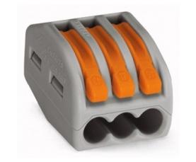 222-413 Универсальная многоразовая 3-проводная клемма 0,08-2,5 4 мм2 50шт. WAGO